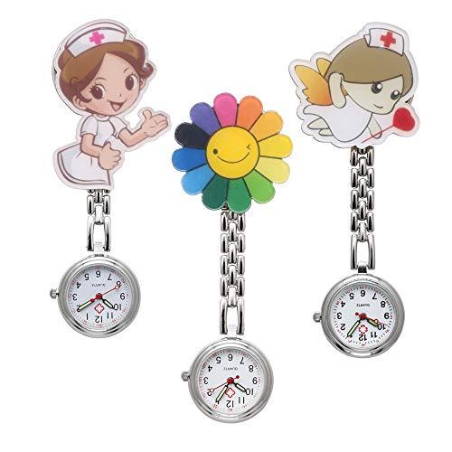 JSDDE Uhren Krankenschwesteruhr Set Pulsuhr FOB Uhr Pflegeruhr Krankenschwester Ärzte Muster Schwesternuhr Brosche Taschenuhr Analoge Quarzuhr (Set4(3 Stück))