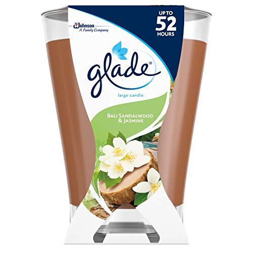 Glade Large Scented Candle Air Freshener, Bali Sandalwood & Jasmine Fragrance, Up to 52 hrs of Burning, 224g