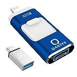 フラッシュドライブ USBメモリー 32GB iPhone Android PC 3in1 専用アプリ(OTG) Type-C変換アダプター付属 アルミ合金製 (32GB, ブルー)