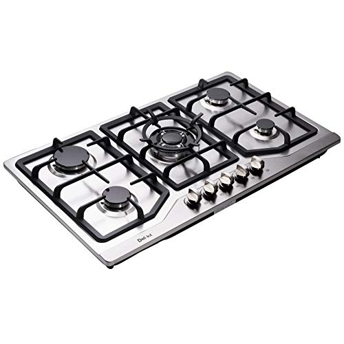 Deli-kit DK258-A05 34 inch Gas Cooktop gas hob stovetop 5 burners LPG/NG Dual Fuel 5 Sealed Burners Stainless Steel 5 Burner Built-In gas hob 110V AC pulse ignition gas stove