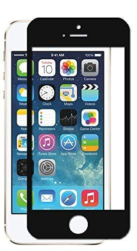 Unicorn 3D Black Curved Tempered Glass Full Screen Clear Transparent Edge to Edge Fit Screen Protector 6H Hardness Fingerprint Resistant Scratch Protection for iPhone 5 5S SE 4 Inch Gorilla Display
