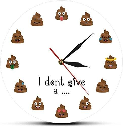 AZHOULIULIU Co.,ltd Wanduhr Don T Give A Shit Moods Exkrement Emotion Silent Quarz Wanduhr Poop Expression Home Decor Wanduhr Funny Gag Geschenk Silent Leicht zu lesen