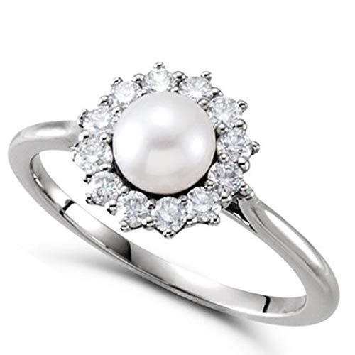 Perla de agua dulce y anillo de halo de diamantes 14k oro blanco 5.50-6mm 0.33ct, anillo de compromiso de oro para siempre, anillo de bodas, anillo de oro de la promesa