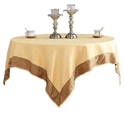 """Cozomiz - Tovaglia rettangolare in tessuto jacquard, antimacchia, resistente alle pieghe, in poliestere, impermeabile, per cucina, tavolo da pranzo 50\""""x50\"""" Inch Orli oro e caffè"""