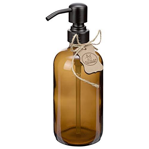 Altglas Seifenspender 'Sarajevo' aus Braun Glas Flasche 500 ml für Flüssig Seife und Lotion mit Edelstahl Pumpkopf in Matt-Schwarz