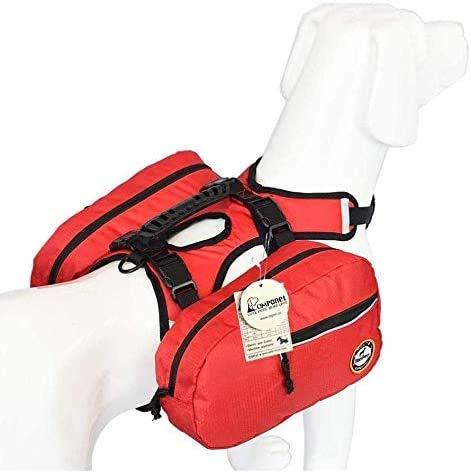 Dog Saddlebag Backpack Adjustable Tripper Hound Travel Backpack Bag Rucksack for Medium & Large Dog Camping Hiking, Detachable Pack Instantly Turns into Harness( S )