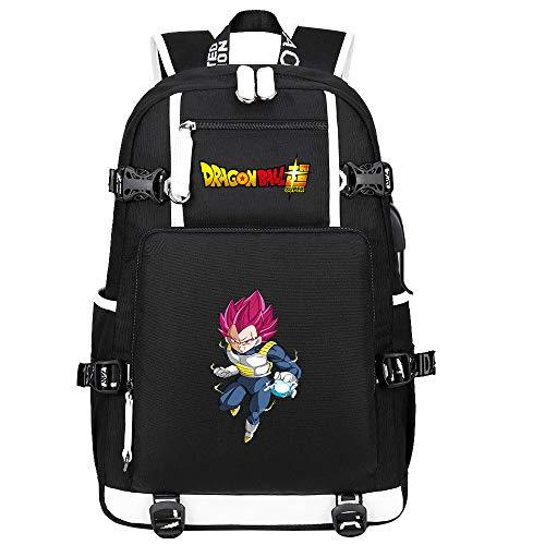 ZZGOO-LL Dragon Ball Son Goku/Vegeta IV/Torankusu Anime Backpacks Student School Bag Laptop Backpack with USB Charging Port-B