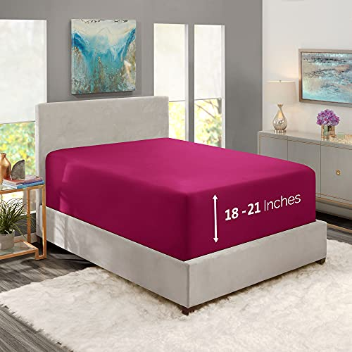 """Nestl Fitted Sheets Full Size – Premium 1800 Microfiber Fitted Bed Sheets – 21"""" Deep Pocket Hypoallergenic and Fade Resistant (Vivacious Magenta)"""