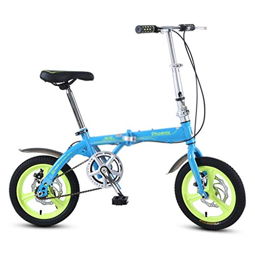 YONGLI Folding Bicycle Single Speed Bicycle Boy Girl Bicycle Small Bicycle, High Carbon Steel Frame, 16 Inches (Color : Blue, Size : 16INCHES)