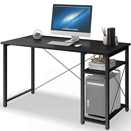 Computer Desk with Shelves,47' Modern Sturdy Writing Desk for Home Office,Office Desk with Bookshelf,Black