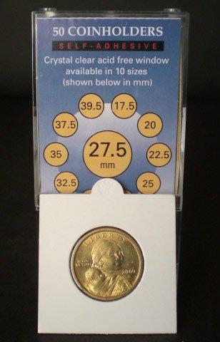 50 2×2 SelfAdhesive Cardboard Coin Holders SMALL DOLLARS
