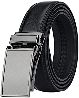 Men's Comfort Genuine Leather Ratchet Dress Belt with Automatic Click Buckle