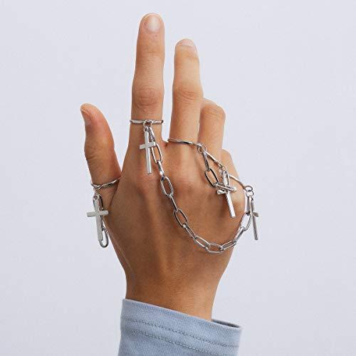 Anglacesmade 3 anillos de nudillo con cruz punk con borla de cadena, anillo de dedo de la cadena, anillo de declaración gótica, paquete de anillos para mujeres, hombres, adolescentes y niñas