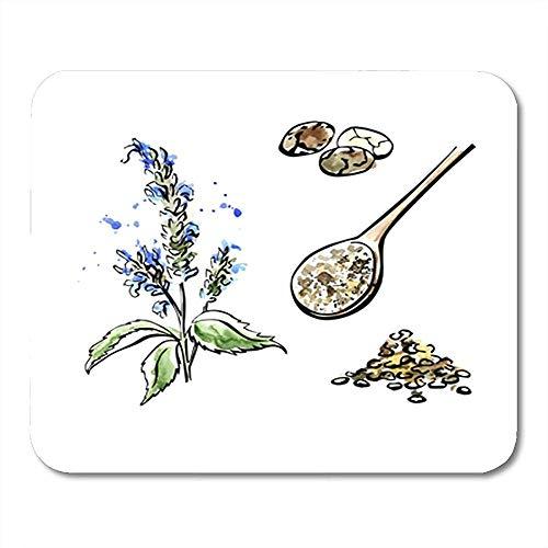 Muis Pad Super Food Chia Zaden Organische Gezond Dieet Supplement Decor Muis Mat Office Mousepad 25X30Cm Nonslip Rubber Backing Gaming Mouse Pad