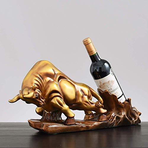 ZLJ Estante de Vino Artesanía de Resina Oficina en casa Creativa Cocina Sala de Estar Dormitorio Decorado en Estilo Europeo-Americano Gold Bull Wine Rack Adornos Regalos de Empresa 22 * 51 * 14cm
