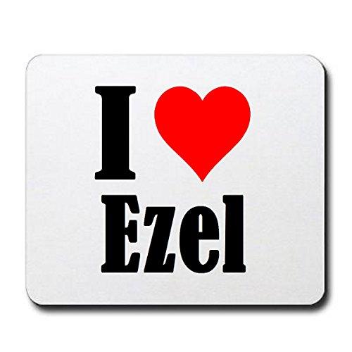 EXCLUSIVO: Tapete de ratón 'I Love Ezel' en Blanco, una gran idea para un regalo para sus socios, colegas y muchos más!- regalo de Pascua, Pascua, ratón, Palmrest, antideslizante, juegos de jugador, cojín, Windows, Mac OS, Linux, ordenador, portátil, PC, oficina, tableta, Amo, Made in Germany.