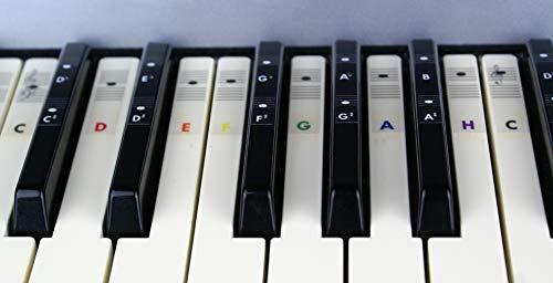 Piano Farbe Aufkleber Klavier Keyboard C-D-E-F-G-A-H