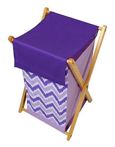 Bacati Purple ZigZag Cotton Hamper with Wooden Stand
