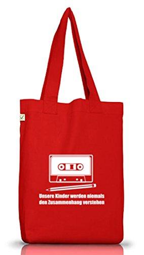 Shirtstreet24, Bleistift - Kassette, Jutebeutel Stoff Tasche Earth Positive (ONE SIZE), Größe: onesize,Red