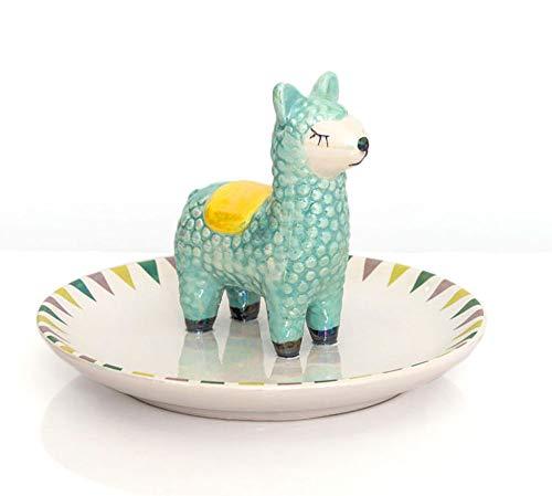 Fluffy Dreams – Lama-Alpaka-Ringhalter und Schmuckschale (Schmuckteller) aus Keramik | handbemalter Trendartikel für Lama-Alpaka Liebhaber | Durchmesser ca. 13 cm, Farbe: weiss | in Geschenkverpackung