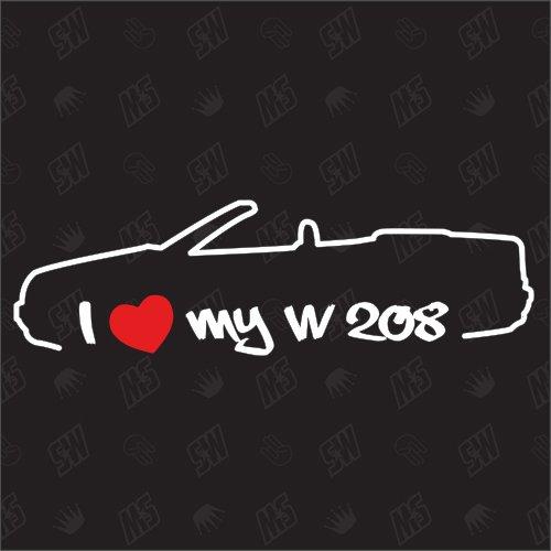 speedwerk-motorwear I Love My W208 - Sticker für Mercedes Benz, CLK Bj 97-03, Cabrio, Tuning Fan Aufkleber