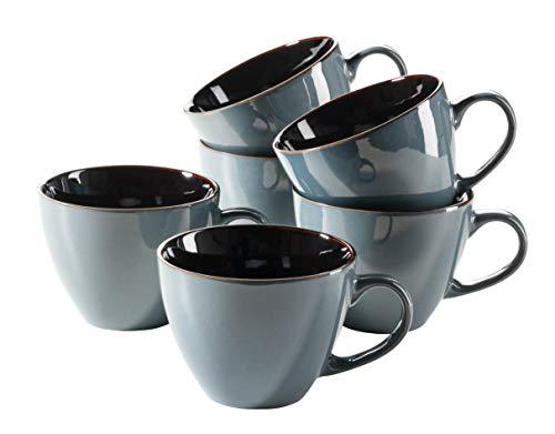 MÄSER 931517 Serie Scuro Cappuccino-Tassen-Set aus Keramik für 6 Personen, Milchkaffeetassen, Jumbo Kaffeetassen, 450 ml, Blau Steinzeug