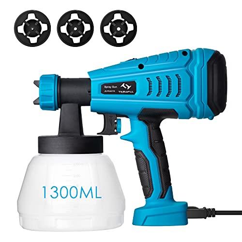 Pistola de Pintura 550W Tilswall de Flujo 1200 ml/min, Pistola para Pintar Pintura de 120 Din/s, con Recipiente de 1300ml y 3 Boquillas(φ1.0mm,φ1.8mm,φ2.6mm) para Pintura y Decoración de Bricolaje