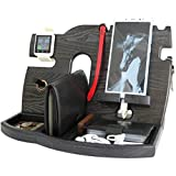 BarvA Wood Dock-ing Station Tray Cell-Phone Smart-Watch Holder Men Charging Accessory Night-Stand Father Mobile Gadget Dark Organizer Dresser Wallet Storage Adult Anniversary Birth-day Graduation Gift