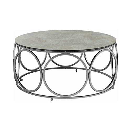 Coaster Home Furnishings Round Casters Marble Coffee Table, Chrome and Beige