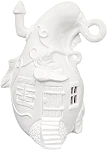 Small Gourd Fairy House for Fairy Garden Ready to Paint Ceramic Bisque, Cut for Tealight, Handmade in The USA