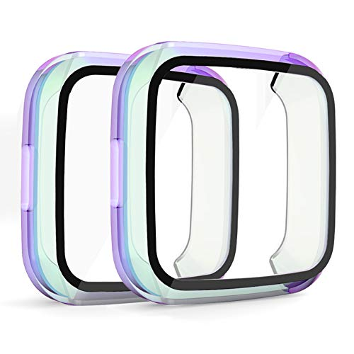 OenFoto Screen Protector Compatible with Fitbit Versa Lite with HD Tempered Glass Case Cover, [2 Pack] [Daily Waterproof] [3D Full Coverage] Shell Protective for Fitbit Versa Lite Smartwatch