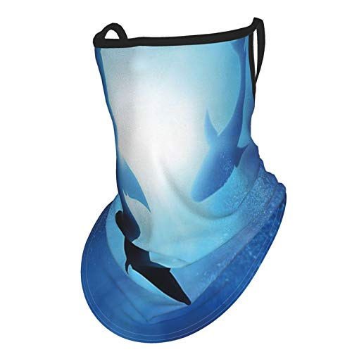 Shark Underwater World With Fish Silhouettes Circling In The Sea Surreal Ocean Life Print Es Royal Blueear Hangers Uv Protection Neck Gaiter Scarf, Outdoor Headband For Fishing Cycling Hiking