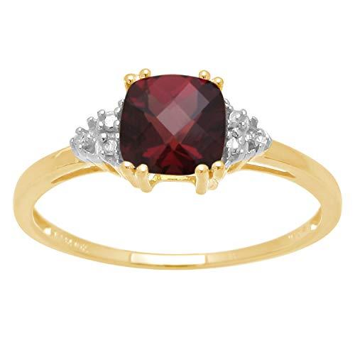 Hot Sale 10k Yellow Gold, January BirthStone, Garnet and Diamond Ring, Size 5
