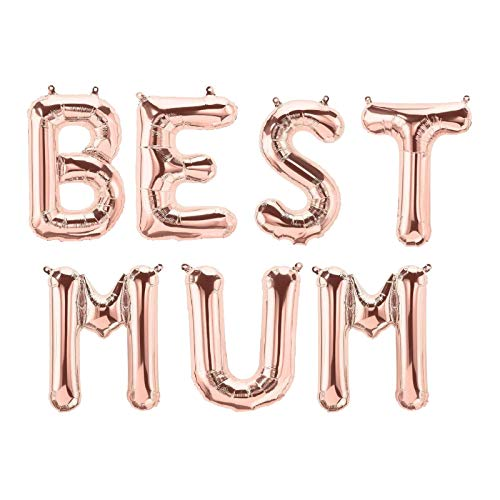 QWV Best Mom Amazing Mom Super Mom 16-inch Balloons Banner, Rose Gold Foil Balloon Mom Mothers Day Party Decorations Supplies