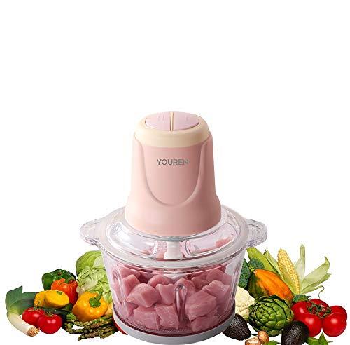 MZGN Tritatutto da Cucina Elettrico, 300w 1.8l Tritatutto Elettrico in Vetro, Mini Frullatore Tritatutto con 4 Lame per Verdura E Frutta, Alimenti per L Infanzia