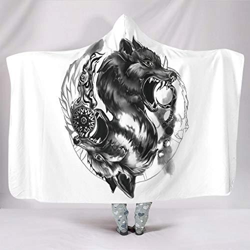 Manta suave con capucha vikingo lobo, sol y luna, impresin artstica, clida, forro polar, retro, manta de televisin, color blanco, 150 x 200 cm