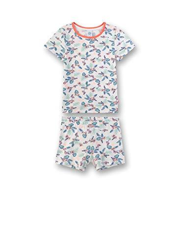 Sanetta Mädchen kurzer Pyjama Zweiteiliger Schlafanzug, Beige (Broken White 1427), (Herstellergröße: 128)