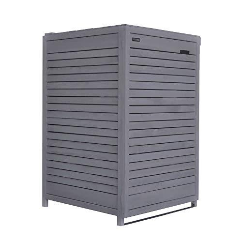 Fairpreis-design Mülltonnenbox Mülltonnenverkleidung 1 Tonne Holz 120 L - 240 L anthrazit inkl. Rückwand vorimprägniert vormontiert Müllcontainer Mülltonnenschrank Mülltonne Mod.Adr.