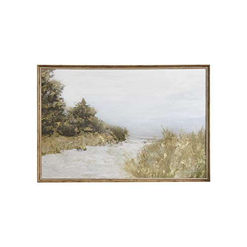Martha Stewart Lake Walk Wall Art Living Room Landscape Watercolor Print Gel Coated Canvas Home Accent Modern Bathroom Decoration, Ready to Hang Poster Painting for Bedroom, 37.2' X 25.2', Multi-Color