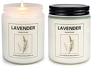 Lavender Candles, Home Scented Soy Candle Set, Lavender Aromatherapy Candle 2 pcs, Soy Wax Set, Women Gift, Mother's Day Day Gift with Strongly Fragrance Scent Oils Jar Candles