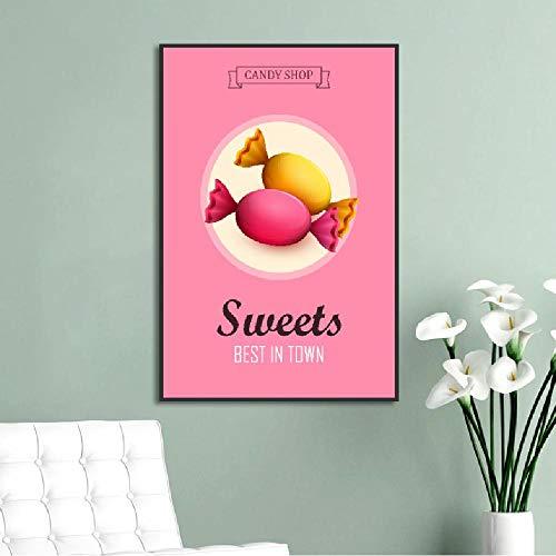 Wuzhaodi Fantasie frisse leuke roze ijs-snoepjes-decoratief schilderij voor koffiepube wand-kunst-foto-modulair zeildoek-poster 50 x 70 cm.