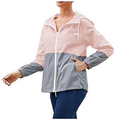 Buy Bargain Toimothcn Womens Hoodie Jacket Blockcolor Fast Drying Waterproof Outdoor Hooded Zipper C...