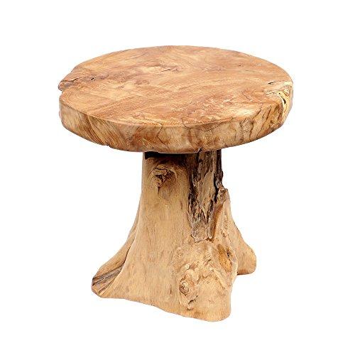 wohnfreuden Teak-Holz Hocker 43 cm Beistelltisch Holz Wurzelfuss Holztisch