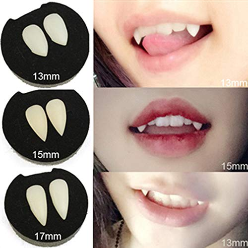 Halloween Teeth Cap Zähne Costume Party Zombie Werewolf Vampire Fangs Ersetzen Zahnersatz Schnelle Temporäre Zahn Selbsthilfe Dental Provisorischer (15mm, Weiß)