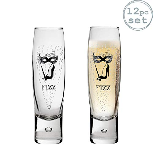 Durobor Flûtes à champagnes - Motif Fizz Femme/Homme - 150 ML - Lot de 12