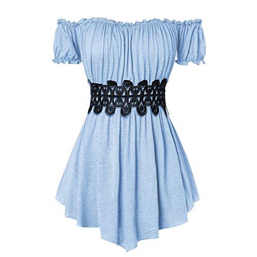 Zegeey Damen T-Shirt Kurzarm Schulterfrei Plissee UnregelmäßIger LäSsige Einfarbig Sommer Top Bluse Oberteil Shirts Pullover(Blau,44 DE/2XL CN)