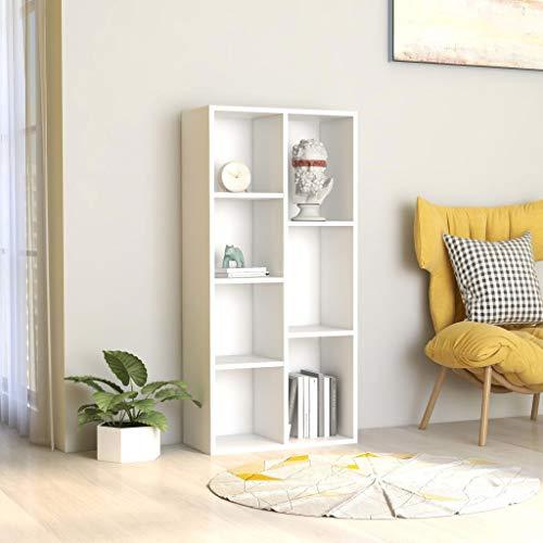 Festnight Bücherregal Weiß 50×25×106 cm Spanplatte mit 7 Regalböden Aktenregal Wandregal Raumteiler Raumtrenner Regal Schrank Büroregal
