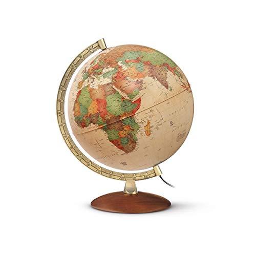 PAL 3010 Antikstil: Antikdesign-Leuchtglobus 30 cm, aktuelle politische Karte, messingfarbener Metallmeridian, Holzfuß (Alter Globus)
