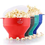 Zulay Kitchen Microwave Popcorn Popper Collapsible, BPA Free Silicone Popcorn Popper Microwave Collapsible Bowl, Quick & Easy Popcorn Popper Silicone Microwave (Red)