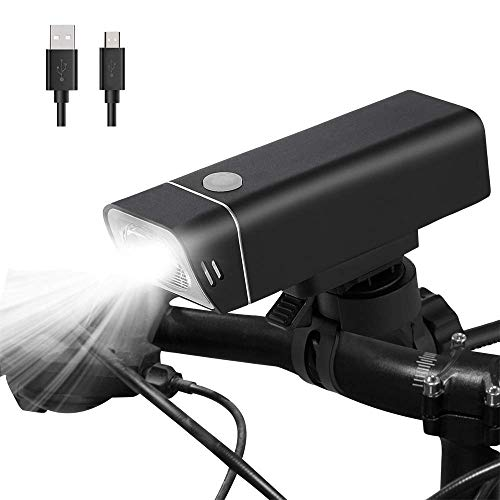 Luz Bicicleta Luces Bicicleta Delantera LED con USB Recargable Luz Bici para el Ciclismo de Montaña Camping Super Brillante, 4 Modos Impermeable, 900 LM, CREE XPG3